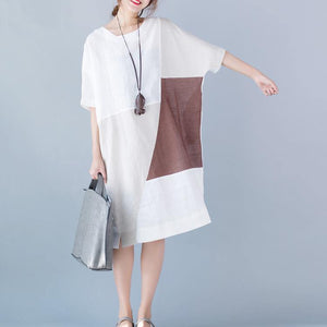 2018 white pure cotton linen dress oversize vintage half sleeve patchwork O neck pockets cotton linen dress