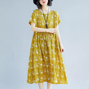 2018 yellow cotton blended shift dresses oversize clothing dress New short sleeve print drawstring clothing dress