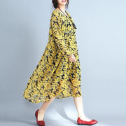 2018 yellow floral natural chiffon dress  Loose fitting o neck traveling dress