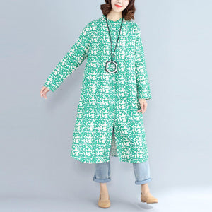 2018green print long cotton linen dresses plus size clothing Stand cotton linen gown casual long sleeve side open baggy dresses