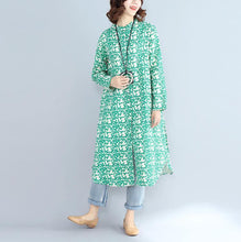 Load image into Gallery viewer, 2018green print long cotton linen dresses plus size clothing Stand cotton linen gown casual long sleeve side open baggy dresses