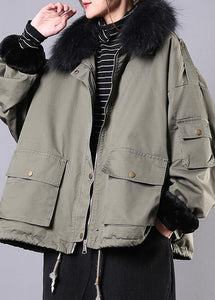 2019 army green casual outfit oversize snow jackets pockets faux fur collar winter coats