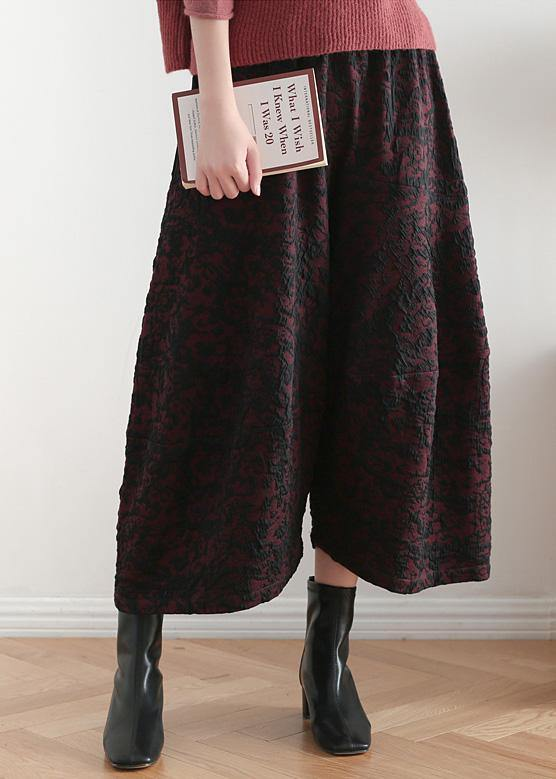 2019 autumn and winter literary wide leg pants large size jacquard retro nine points red pants