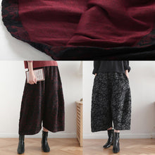 Load image into Gallery viewer, 2019 autumn and winter literary wide leg pants large size jacquard retro nine points red pants