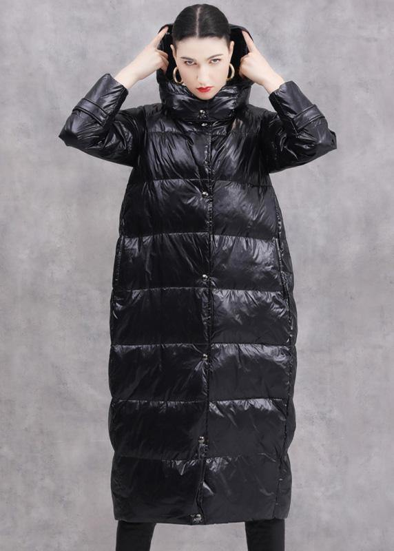 2019 black duck down coat oversize hooded down jacket zippered Fine coats