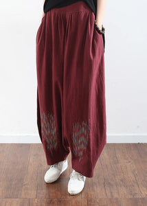 2019 burgundy cotton linen wide leg pant plus size traveling pants