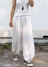 Load image into Gallery viewer, 2019 fall women silk linen pants plus size white wide leg pants