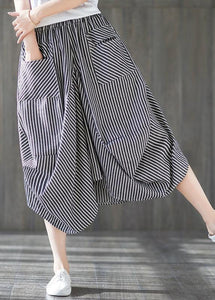 2019 new cotton linen literary striped skirt casual irregular thin section natural waist