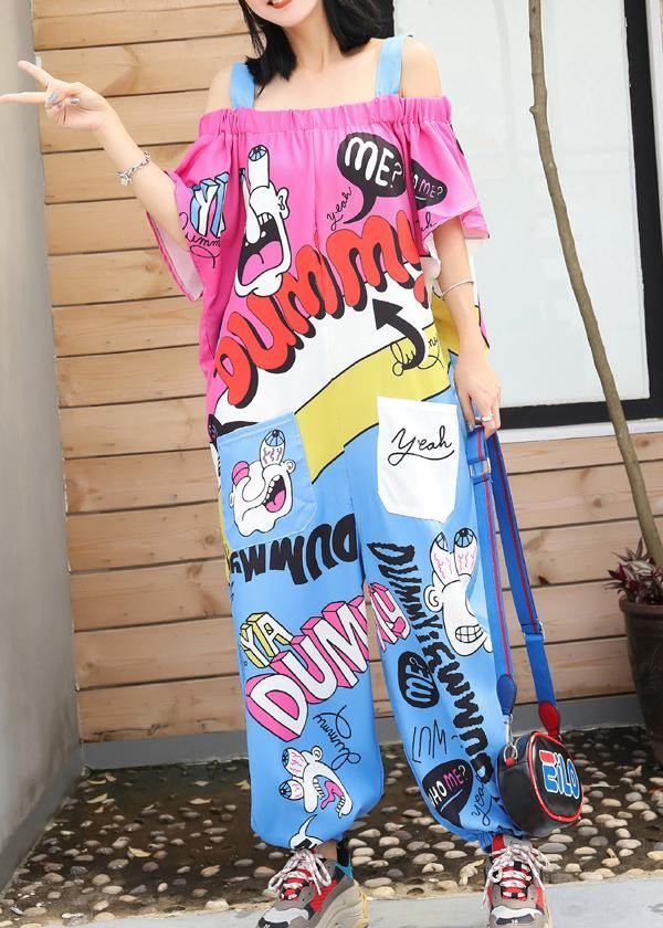 2019 new wave spoof cartoon print one word loose jumpsuit
