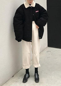 2019 oversize snow jackets winter overcoat black Peter pan Collar women parka