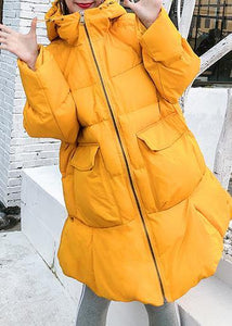 2019 oversized down jacket big pockets winter outwear yellow hooded womens coats