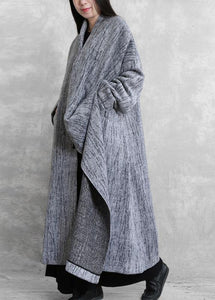 2019 oversized long coat women gray asymmetric pockets Woolen Coats Women