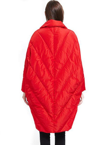 2019 plus size down jacket Notched collar Jackets red cloak down coat winter