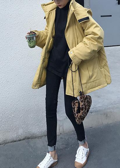 2019 plus size warm winter coat side open winter coats yellow hooded women parkas