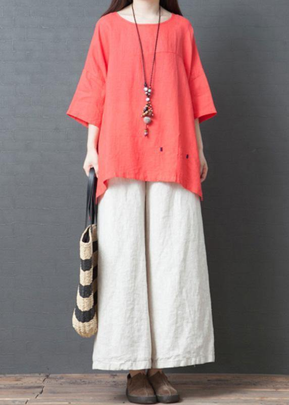 2019 red cotton casual low high design t shirt and white wide leg pants two pieces