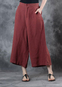 2019 red loose linen pants fall women pockets wide leg pants