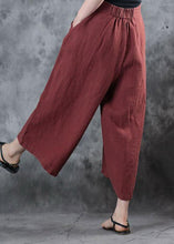 Load image into Gallery viewer, 2019 red loose linen pants fall women pockets wide leg pants