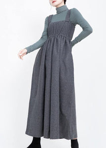 2019 sleeveless women wrinkled jumpsuit gray pants casual fashion wide leg pants