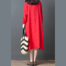 Load image into Gallery viewer, 2019 spring new red linen shirt dress casual plus size long sleeve maxi dress