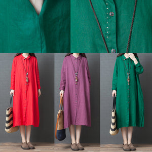 2019 spring new red linen shirt dress casual plus size long sleeve maxi dress