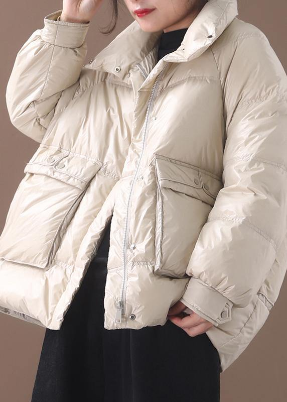 2019 white goose Down coat plus size clothing snow jackets two pockets stand collar coats