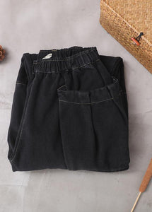 2019 winter black patchwork cotton pants two pockets thick denim pants
