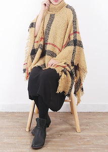 2019 yellow original cloak shawl plaid high neck oversize sweater