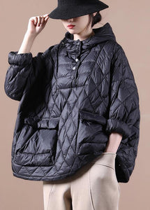 2020 Loose fitting winter jacket hooded black pockets down coat-(Free Shipping+Limited Stock)