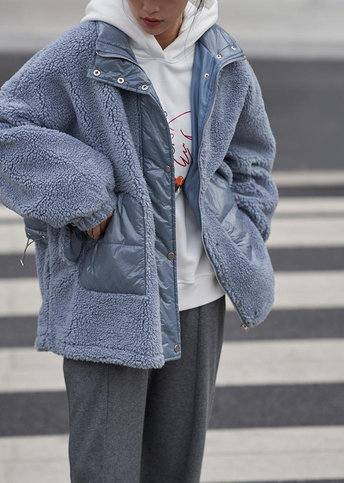 2020 Loose jacket blue stand collar patchwork Woolen Coat Women