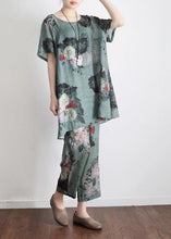 Load image into Gallery viewer, 2020 New Loose Green Print Short Sleeve Shirt Casual Pants Linen Set