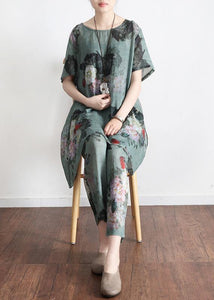 2020 New Loose Green Print Short Sleeve Shirt Casual Pants Linen Set