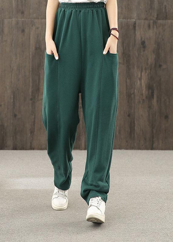 2020 autumn big pocket elastic waist green casual pants