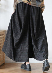 20202020 Fall new style retro mid-length loose black plaid A-line irregular wide-leg pants