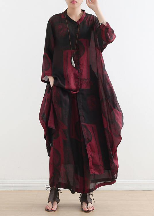 2020 fashion suit large size was thin red printed silk female wide-leg pants two-piece suit