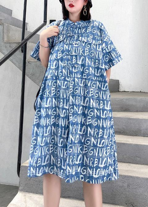 2020 new jumpsuit summer thin high waist blue Letter printed wide-leg jumpsuit shorts