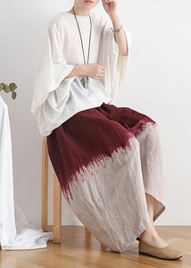 2020 new retro national style skirt pants red gradient loose large size cotton and linen casual pants