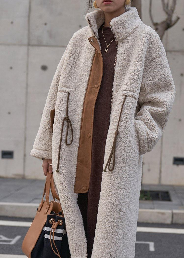 2020 nude Woolen Coats plus size winter coat high neck drawstring jackets
