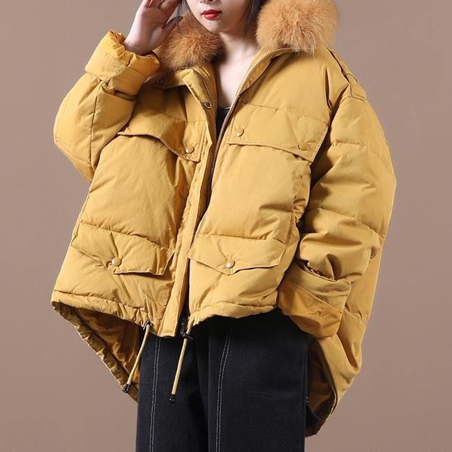 2020 plus size down jacket coats yellow faux fur collar drawstring duck down coat