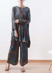 2020 spring new two pieces blue print literary retro thin section chiffon wide-leg pants