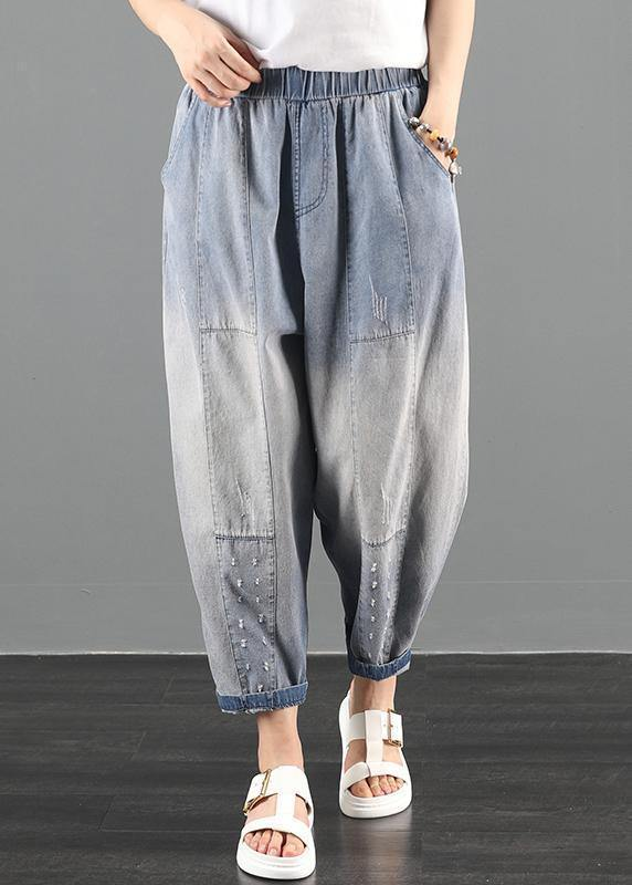 2020 summer dress code loose high waist washed old denim harem pants
