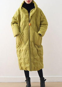 2021 Warm Yellow Down Coat original design literary retro overcoat