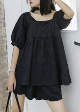 Load image into Gallery viewer, 2020 women's summer fashion western style bubble sleeve black top and shorts two-pieces