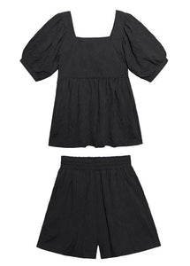 2020 women's summer fashion western style bubble sleeve black top and shorts two-pieces