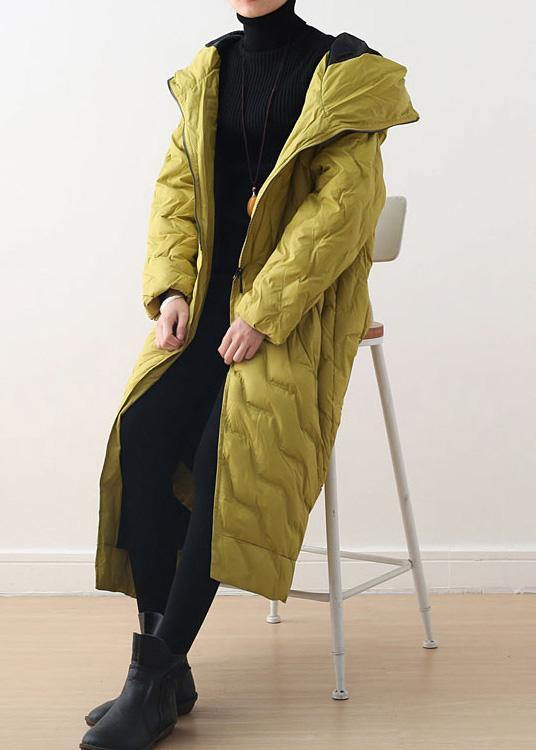 2020 yellow goose Down coat casual hooded women  parka asymmetric women overcoat