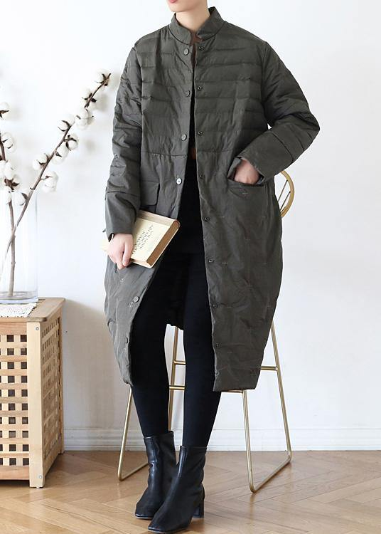 2020green down jacket woman casual stand collar women parka warm Casual winter outwear