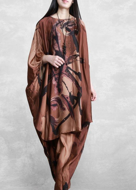 2021 Large Loose Silk Two Piece Suit Women's Irregular Personality Bat Sleeve Casual Suit