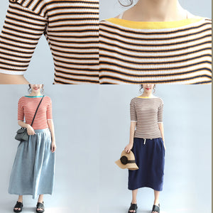 207 fall red striped cotton tops stylish slim blouse