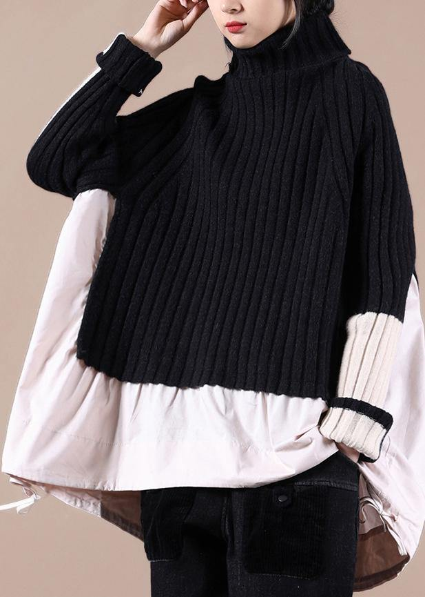 Aesthetic Black Top High Neck Patchwork Plus Size Clothing Spring Knitted Blouse