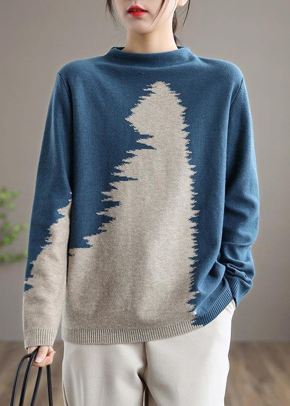 Aesthetic Blue Knitted Pullover O Neck Plus Size Knit Sweat Tops