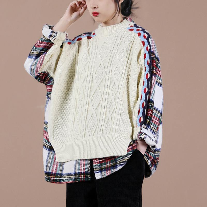 Aesthetic beige plaid sweater tops o neck false two pieces casual knit sweat tops